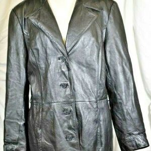 COLEBROOK Women's Leather Button Down Jacket XL